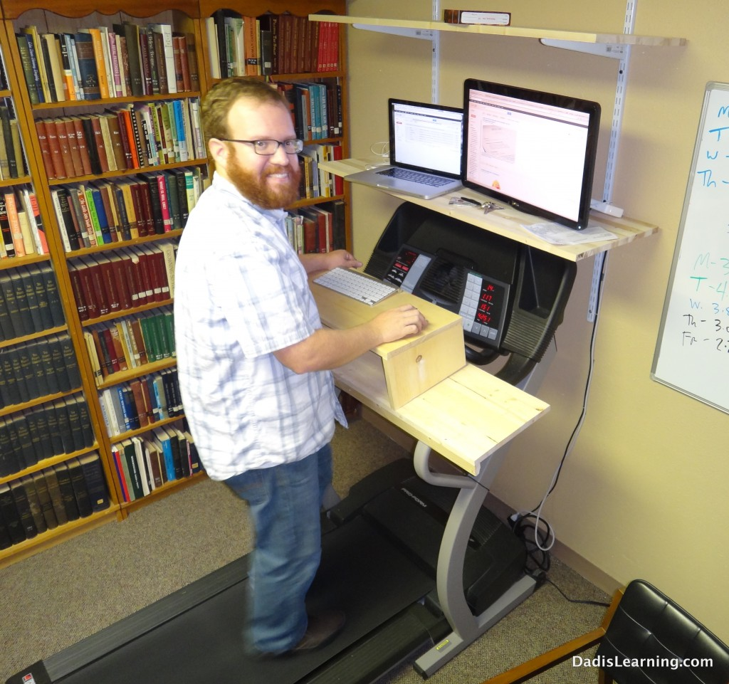 DIY homemade treadmill desk