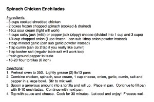Spinach Chicken Enchilada Recipe