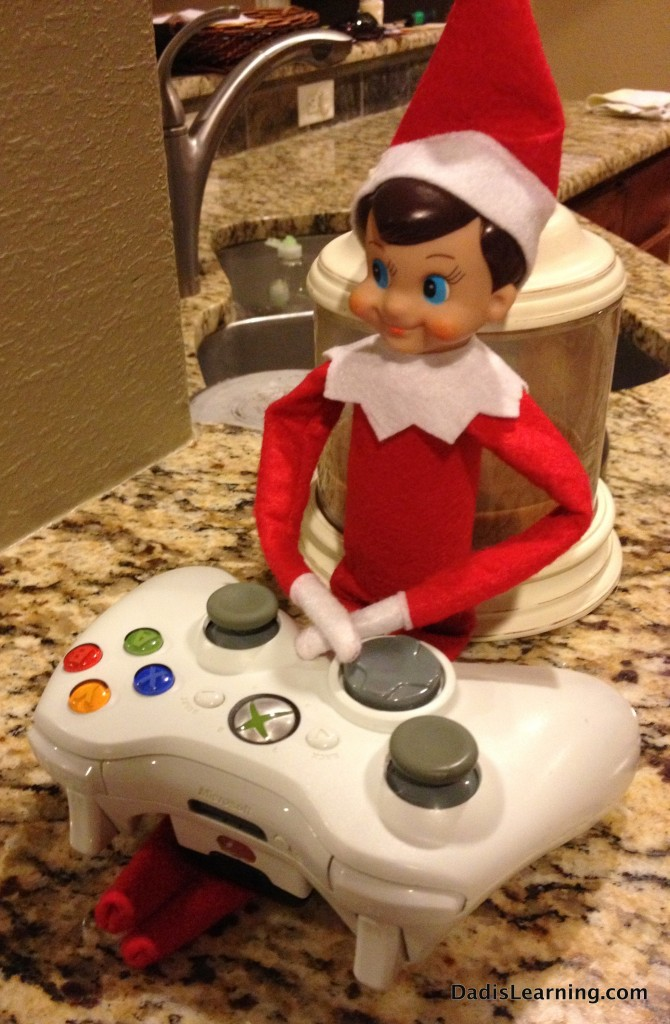 Elf on the Shelf playing Xbox