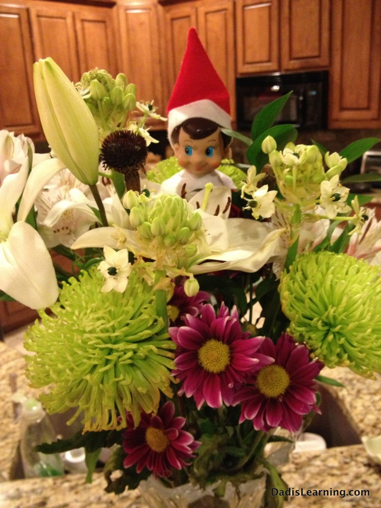 elf on the shelf flowers