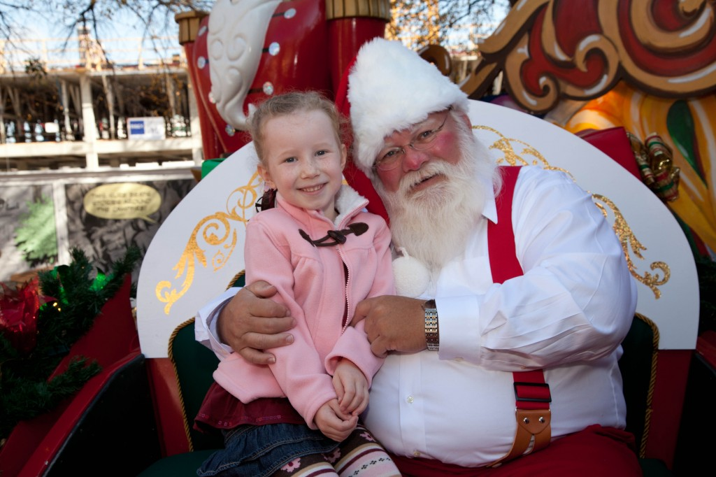 happy girl with santa