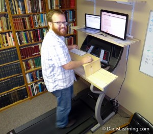 treadmill desk happy guy