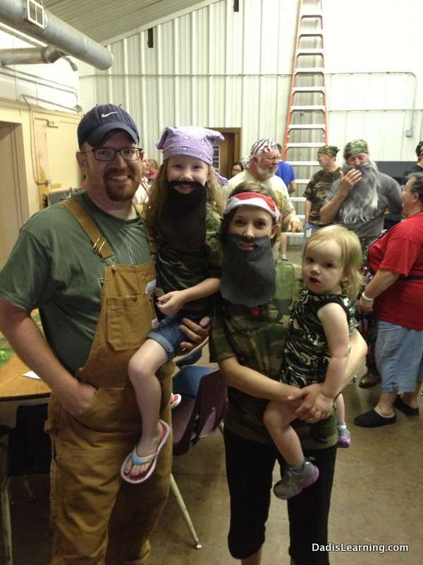 Our family dressed for the Duck Dynasty dinner.