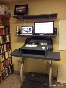My DIY treadmill desk after some refinement and painting.  This s what it looks like on a standard work day.
