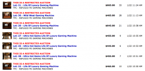 A screenshot of the completed auction listings for the gaming machines.