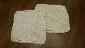 The pot holders that Bonnie made for our family.