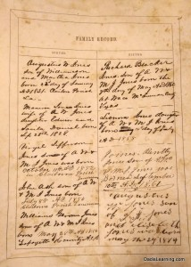 family record in 1858 family bible
